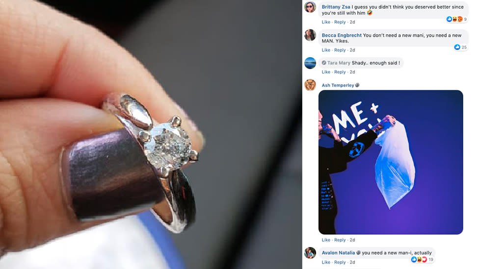 Woman hits back after engagement ring post backfires