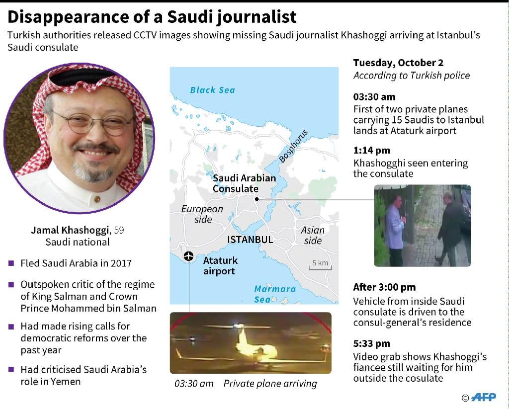 Details of the alleged murder of Jamal Khashoggi (AFP Photo/Thomas SAINT-CRICQ)