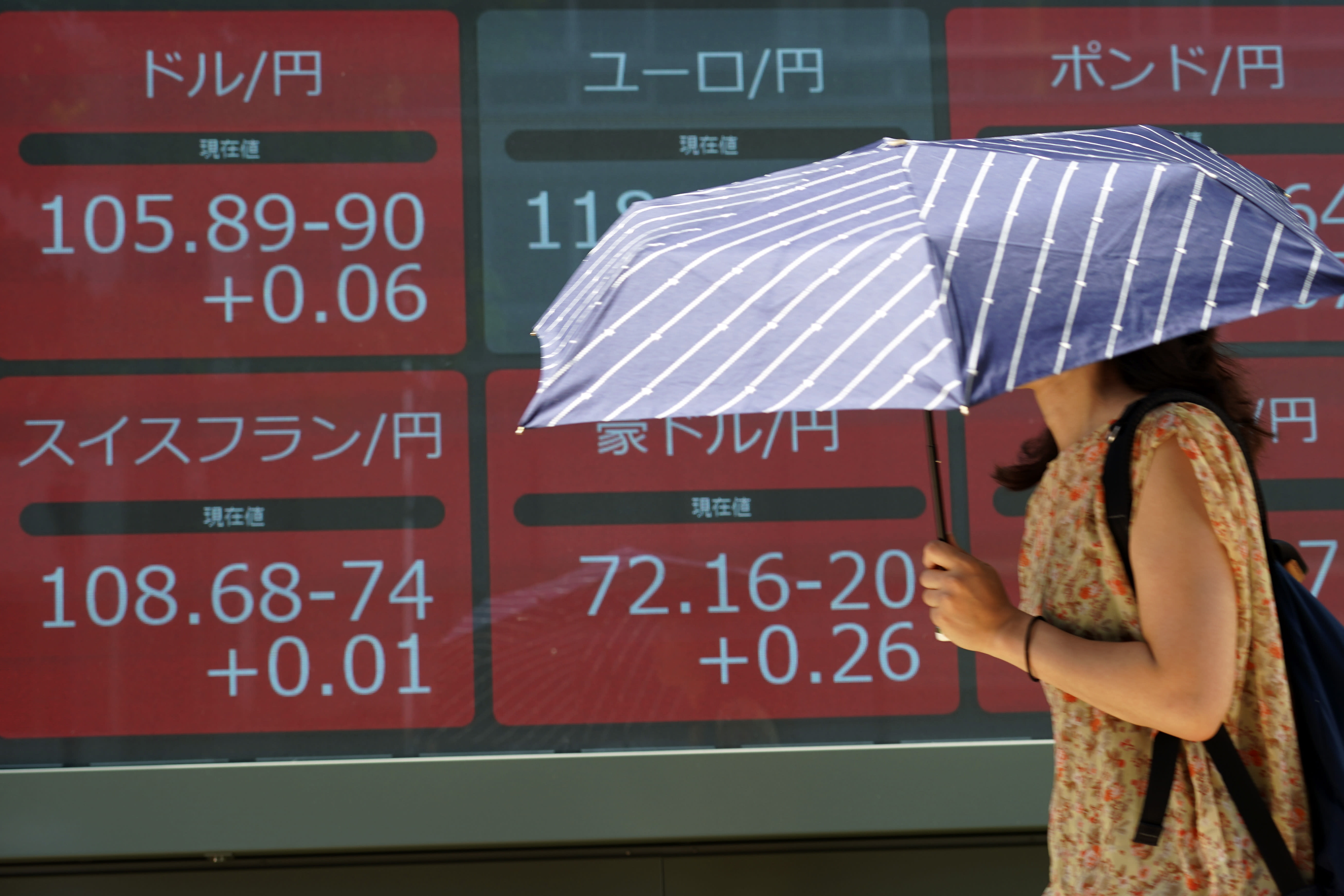 A woman walks past an electronic stock board showing the conversion rates of international currencies to Japanese yen at a securities firm in Tokyo Friday, Aug. 9, 2019. Asian shares rose Friday as investors bought back stocks following gains on Wall Street, although worries about a trade dispute between the U.S. and China remained. (AP Photo/Eugene Hoshiko)