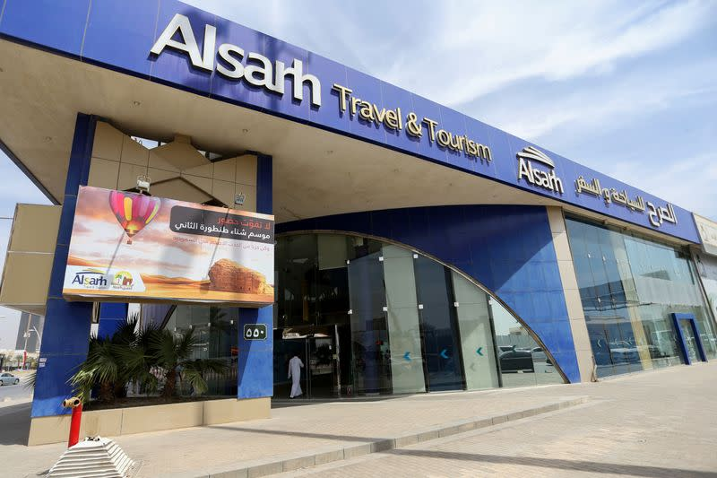 General view shows Alsarh Travel and Tourism company in Riyadh