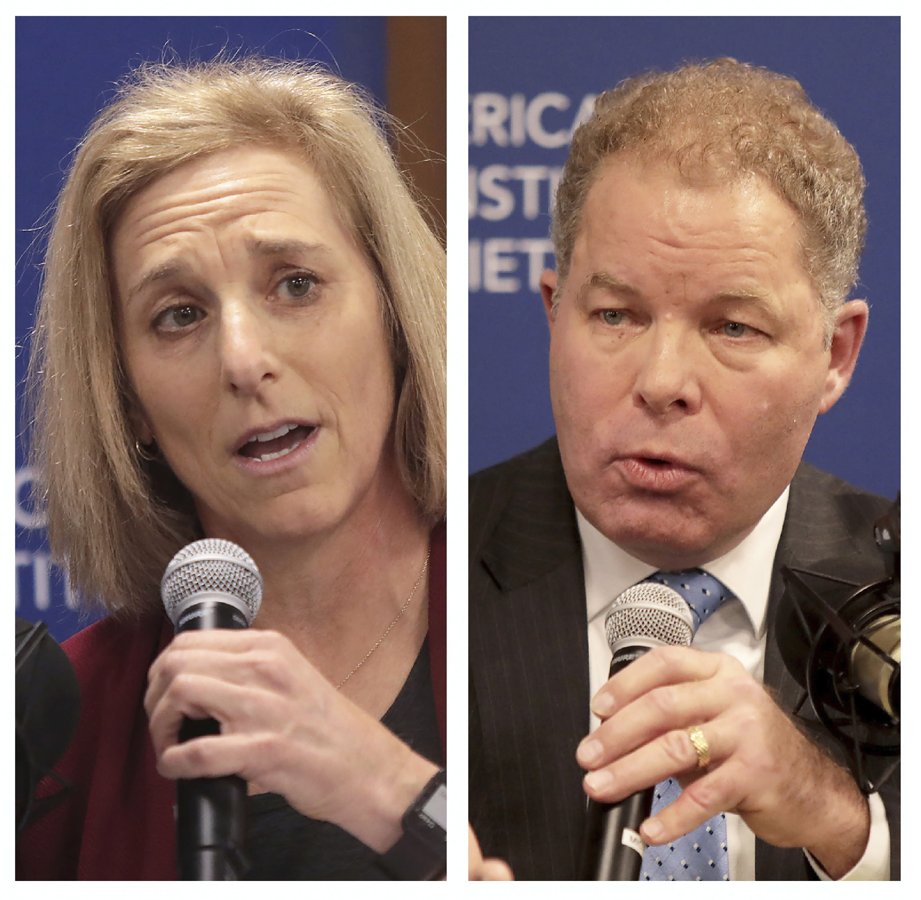 FILE - This combination of Nov. 19, 2019 file photos shows Dane County Circuit Court Judge Jill Karofsky, left, and Wisconsin Supreme Court Justice Daniel Kelly, during a candidate's forum for a seat on the state Supreme Court. Clerks will begin counting ballots Monday, April 13, 2020, nearly a week after votes were cast in Wisconsin's contentious Supreme Court race. (John Hart/Wisconsin State Journal via AP, File)