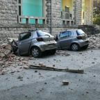 Cars Destroyed by Falling Debris as Earthquake Rocks Albania