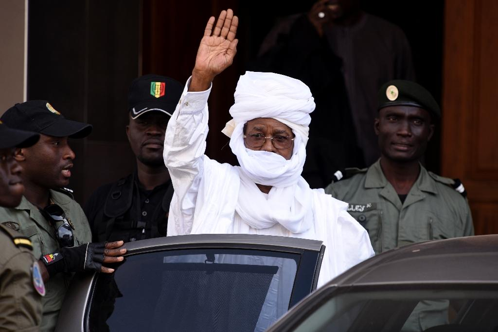 Former Chadian dictator Hissene Habre pictured leaving a Dakar courthouse after an identity hearing on June 3, 2015 (AFP Photo/Seyllou)