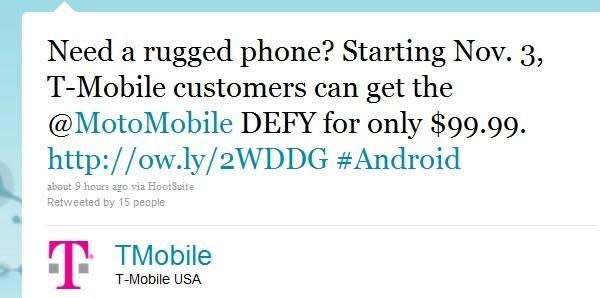 Motorola Defy makes a splash on T-Mobile this November 3rd for $99