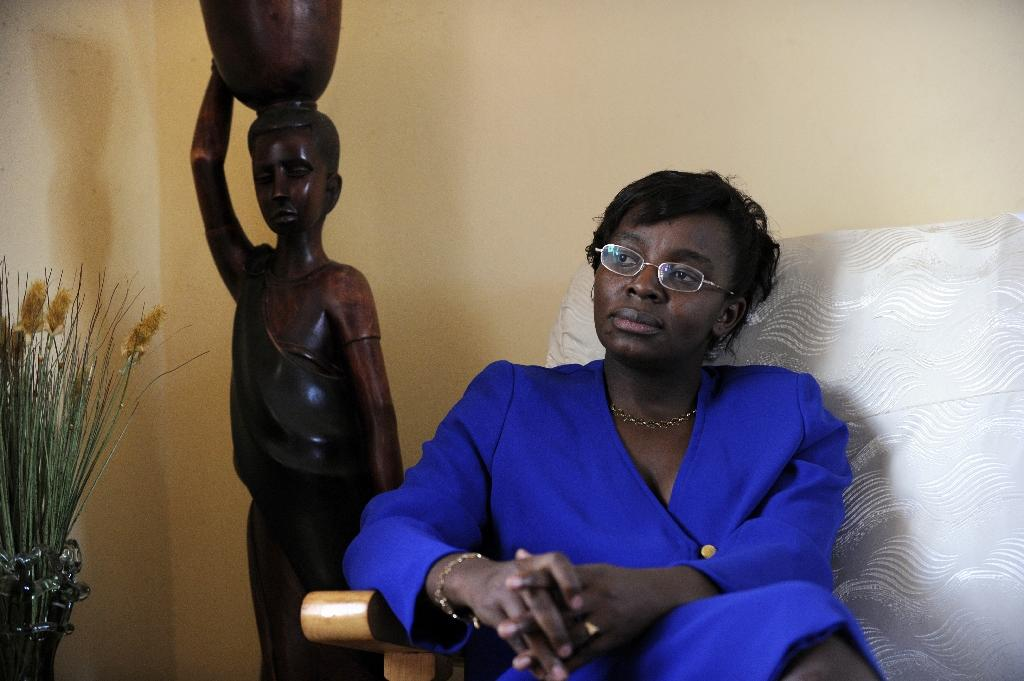 Victoire Ingabire returned from exile to run for president in 2010, however she was arrested, charged with terrorism and treason and sentenced to 10 years in jail. This file picture from April 7, 2010, shows the Rwanda opposition leader at her home in Kigali (AFP Photo/BERTRAND GUAY)