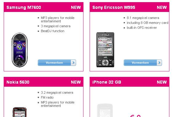 32GB iPhone placeholder appears at T-Mobile Austria