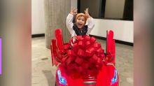 Flayslane presenteia filho com Ferrari elétrica de R$ 4 mil
