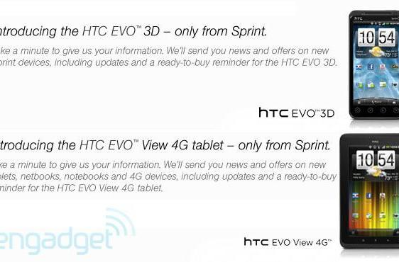HTC EVO 3D and EVO View 4G tablet spotted -- on Sprint's website, where else?
