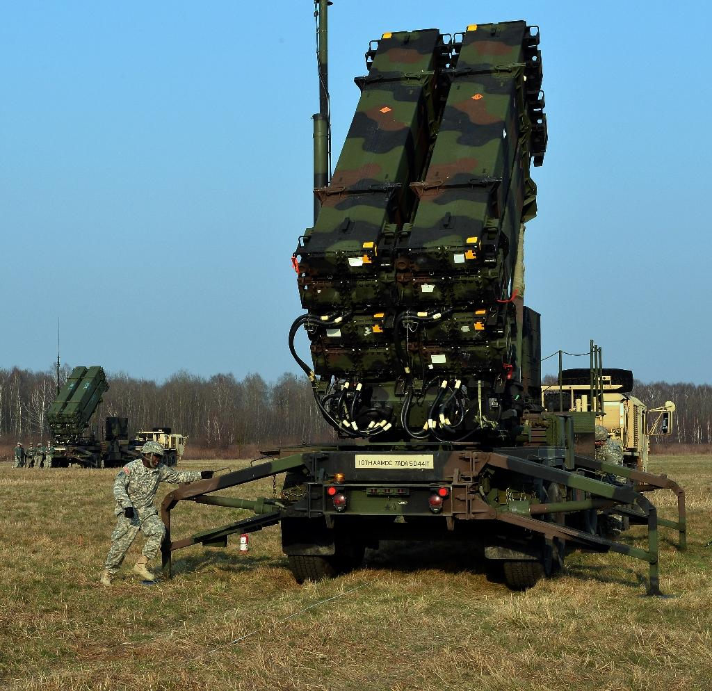 US troops deploy a launching station for the Patriot air and missile defence system at a test range in Sochaczew, Poland, as part of a joint exercise with Polish troops
