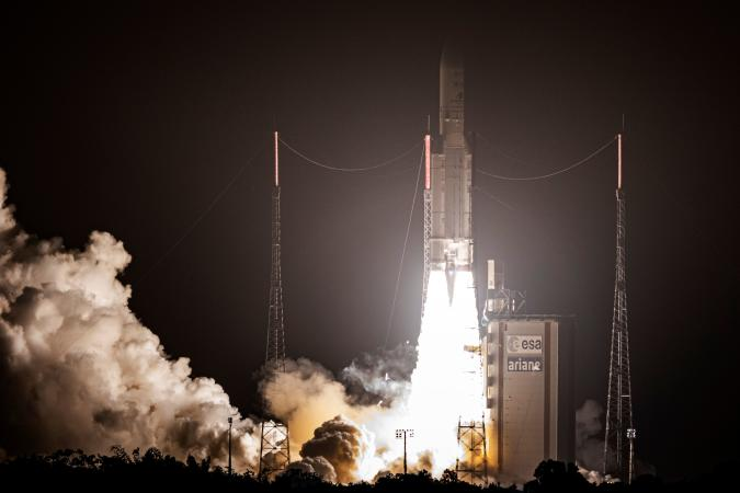 This picture shows an Ariane 5 rocket carrying two telecommunications satellites, SKY Perfect JSAT Corporations JCSAT-17 and GEO-KOMPSAT-2B for the Korea Aerospace Research Institute (KARI), lifting off from its launchpad in Kourou, at the European Space Center in French Guiana, on February 18, 2020. (Photo by jody amiet / AFP) (Photo by JODY AMIET/AFP via Getty Images)