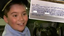 Aussie kid's adorable note scores him business class upgrade