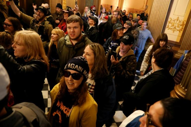 The protest was the second in April against Governor Gretchen Whitmer's stay-at-home orders (AFP Photo/JEFF KOWALSKY)