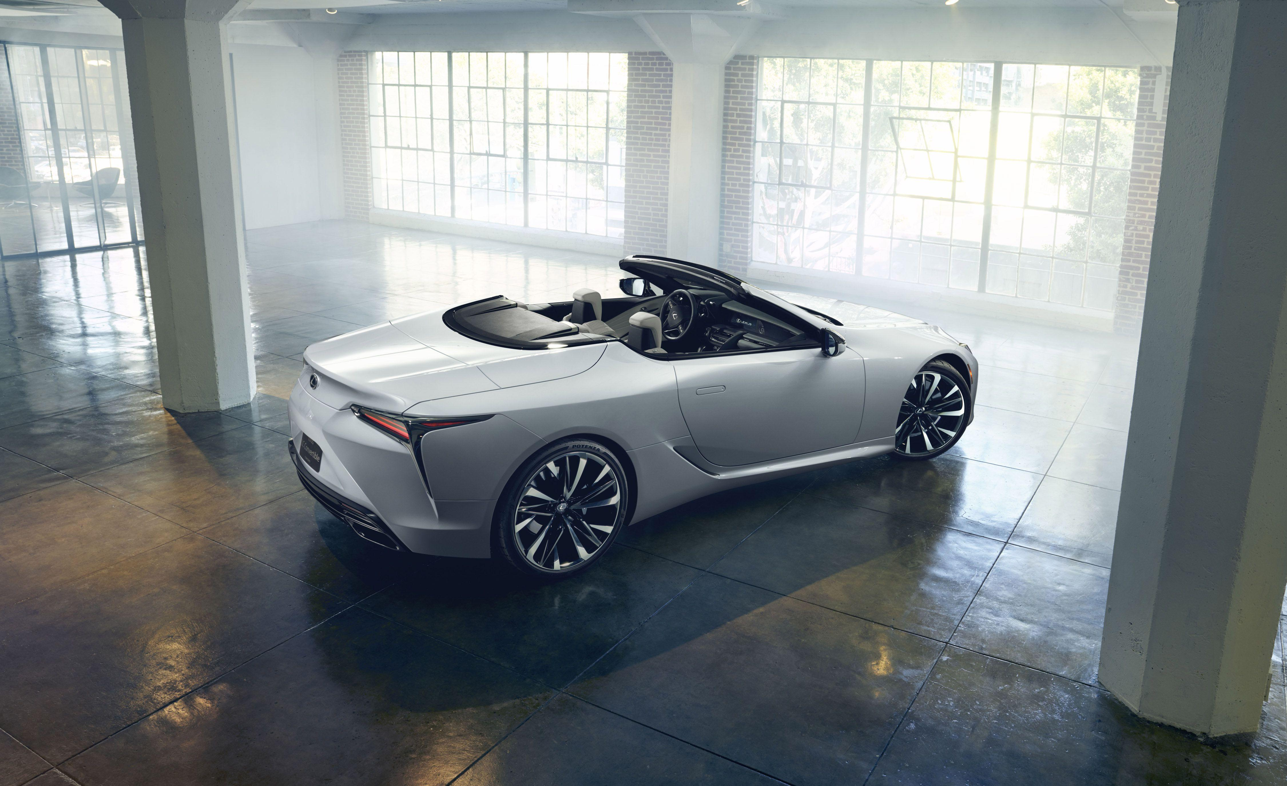 """<p>Lexus designer Tadao Mori says that """"A production version of this concept would be exhilarating in many different ways."""" Would be? This LC convertible concept <em>is</em>exhilarating<em>. </em>We'd like to apply that same present tense to its status as a production vehicle. So far, it's only a show car, and it is making its debut at the 2019 Detroit auto show.</p>"""