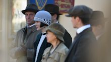 Michelle Dockery joined by Stephen Campbell Moore on Downton Abbey set