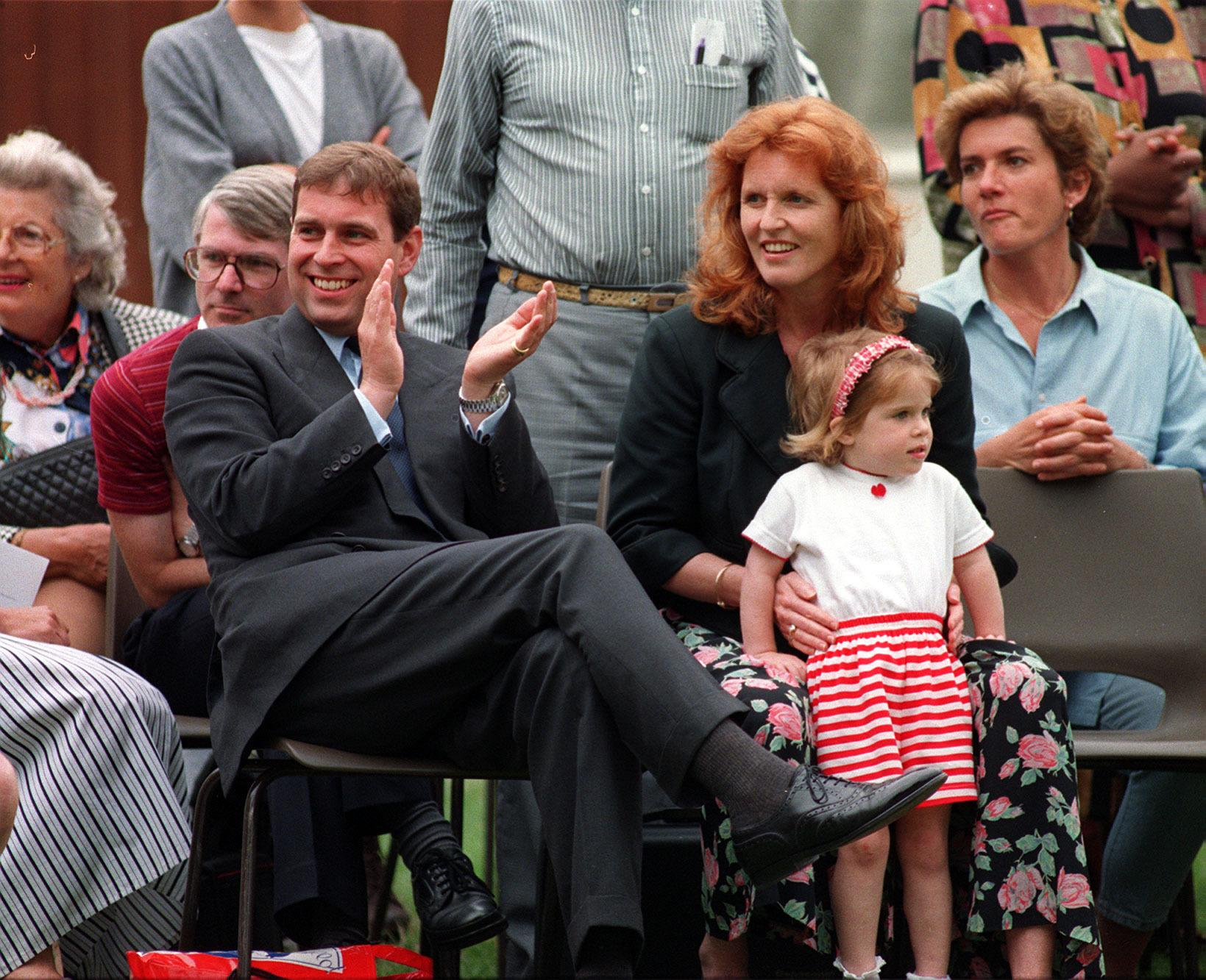 The Duke and Duchess of York and their youngest daughter Princess Eugenie enjoy the events of sports day at Upton House School, Windsor which is attended by their other daughter Princess Beatrice.