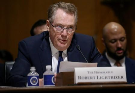 FILE PHOTO: U.S. Trade Representative Lighthizer testifies before a Senate Finance Committee hearing in Washington