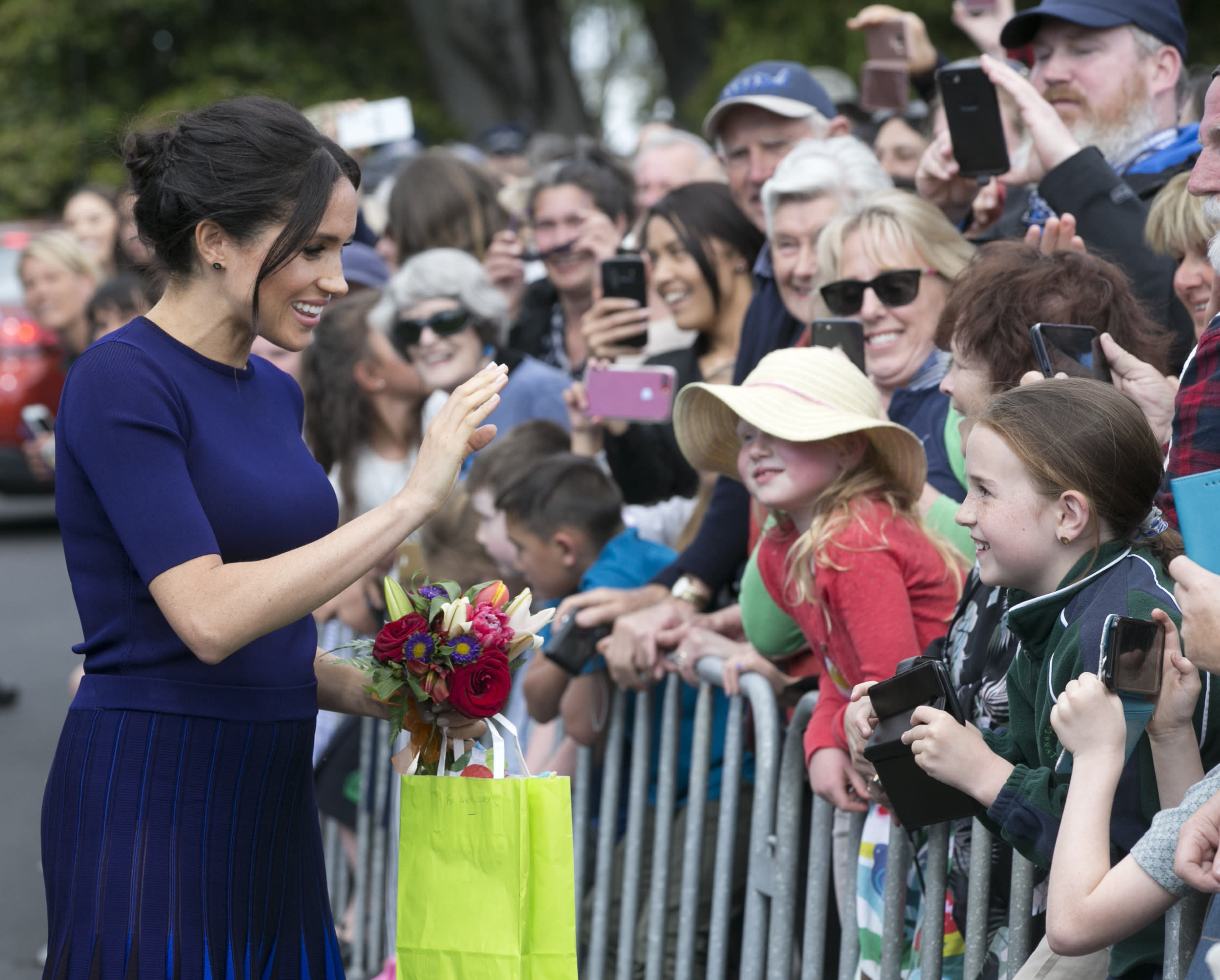 The Duchess of Sussex waves to the crowds at Government Gardens during their visit to Rotorua, New Zealand on October 31, 2018. (Photo by Alan Gibson/New Zealand Herald/Sipa USA)