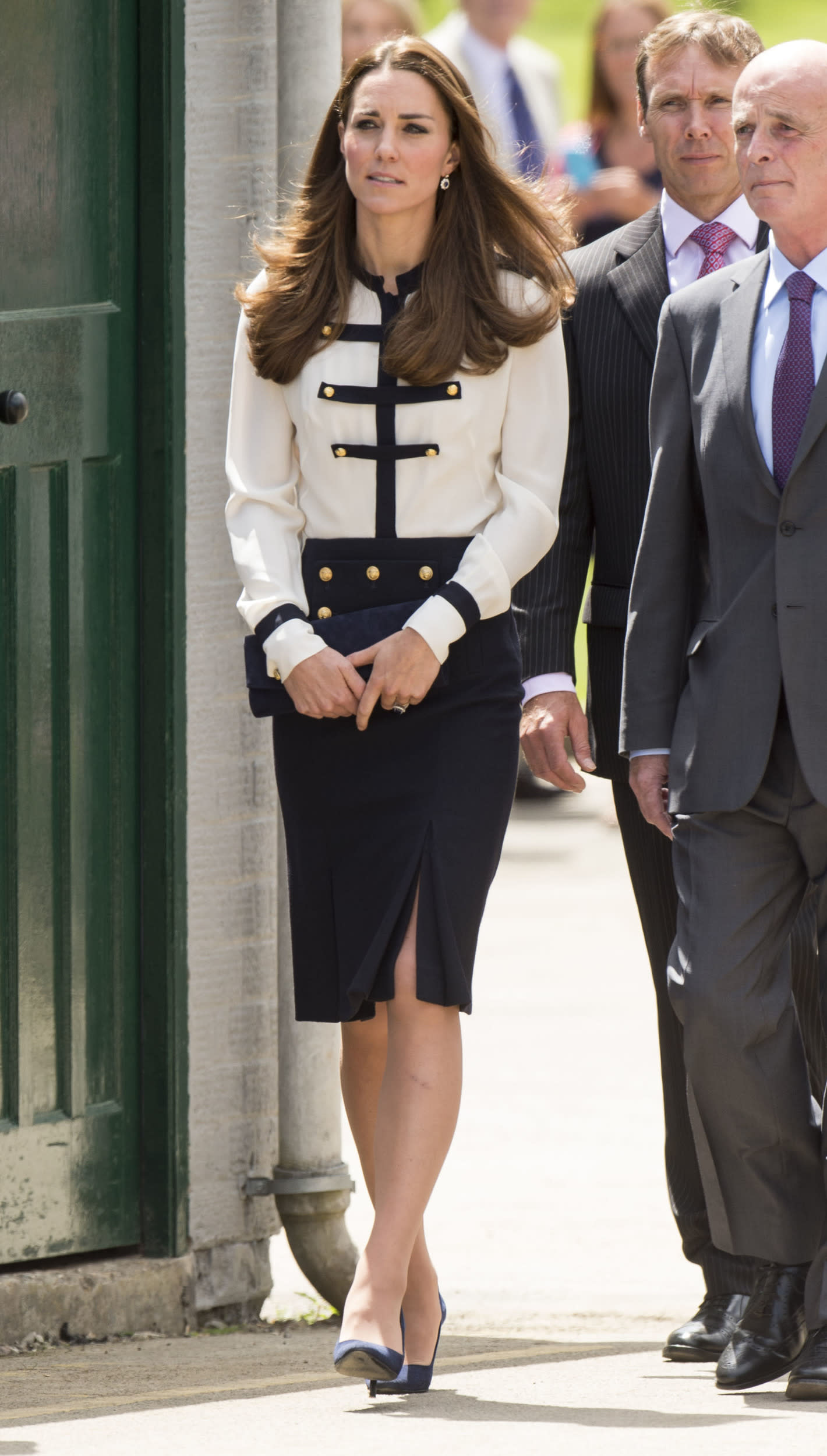 Kate is seen wearing Alexander McQueen to a military event in London.