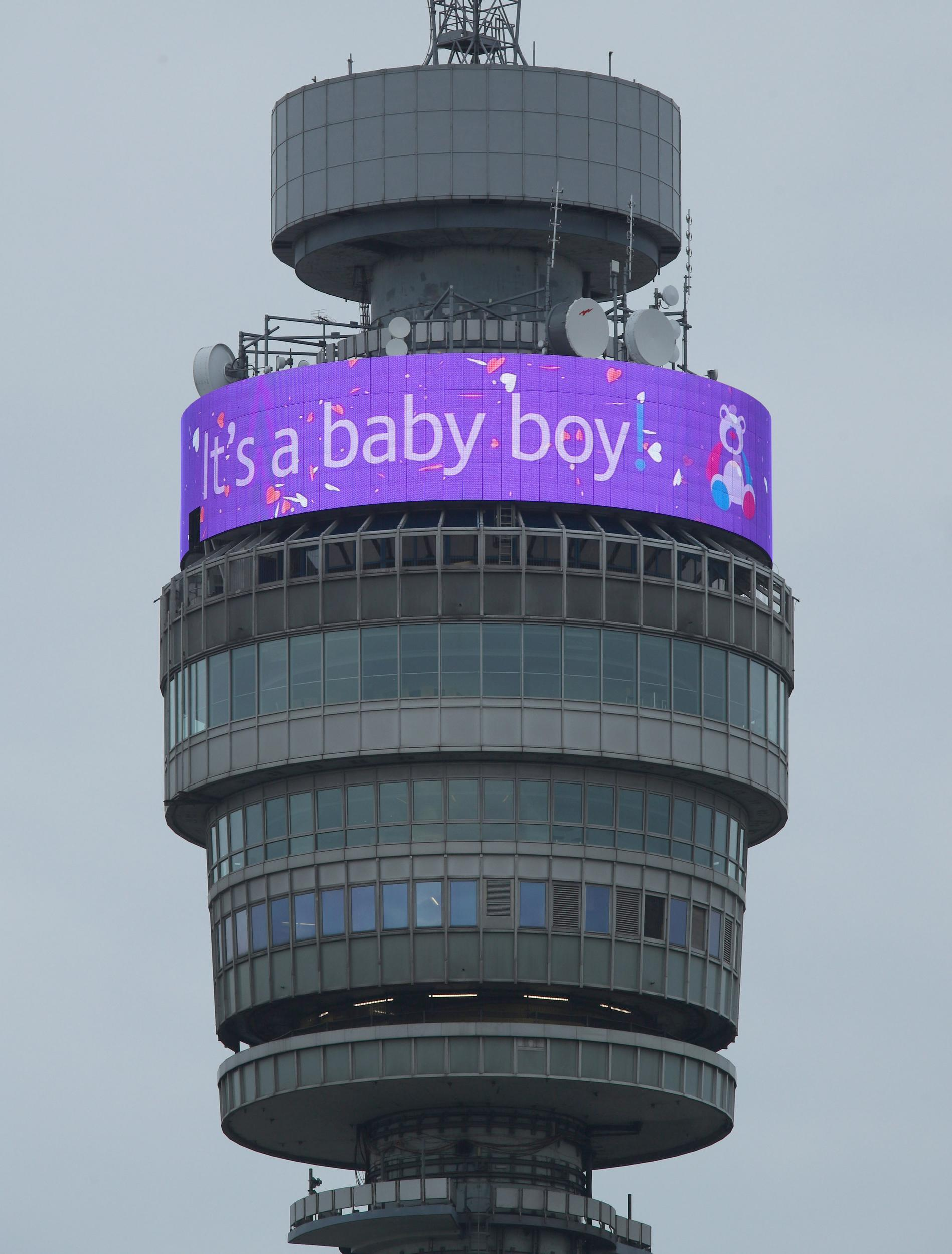 The BT Tower in London displays a message in celebration of the birth of the Duke and Duchess of Sussex's new baby boy.