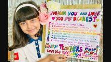 Aishwarya Rai Bachchan Shares A Photo Of Aaradhya Posing With A Handmade Teachers' Day Card