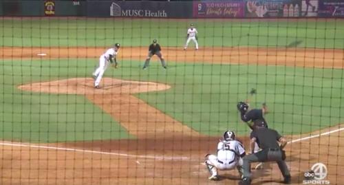 Tim Tebow sent this bat a long way. (@DarenStoltzfus Screenshot)