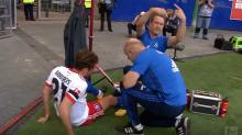 German player scores, then injures knee celebrating (video)