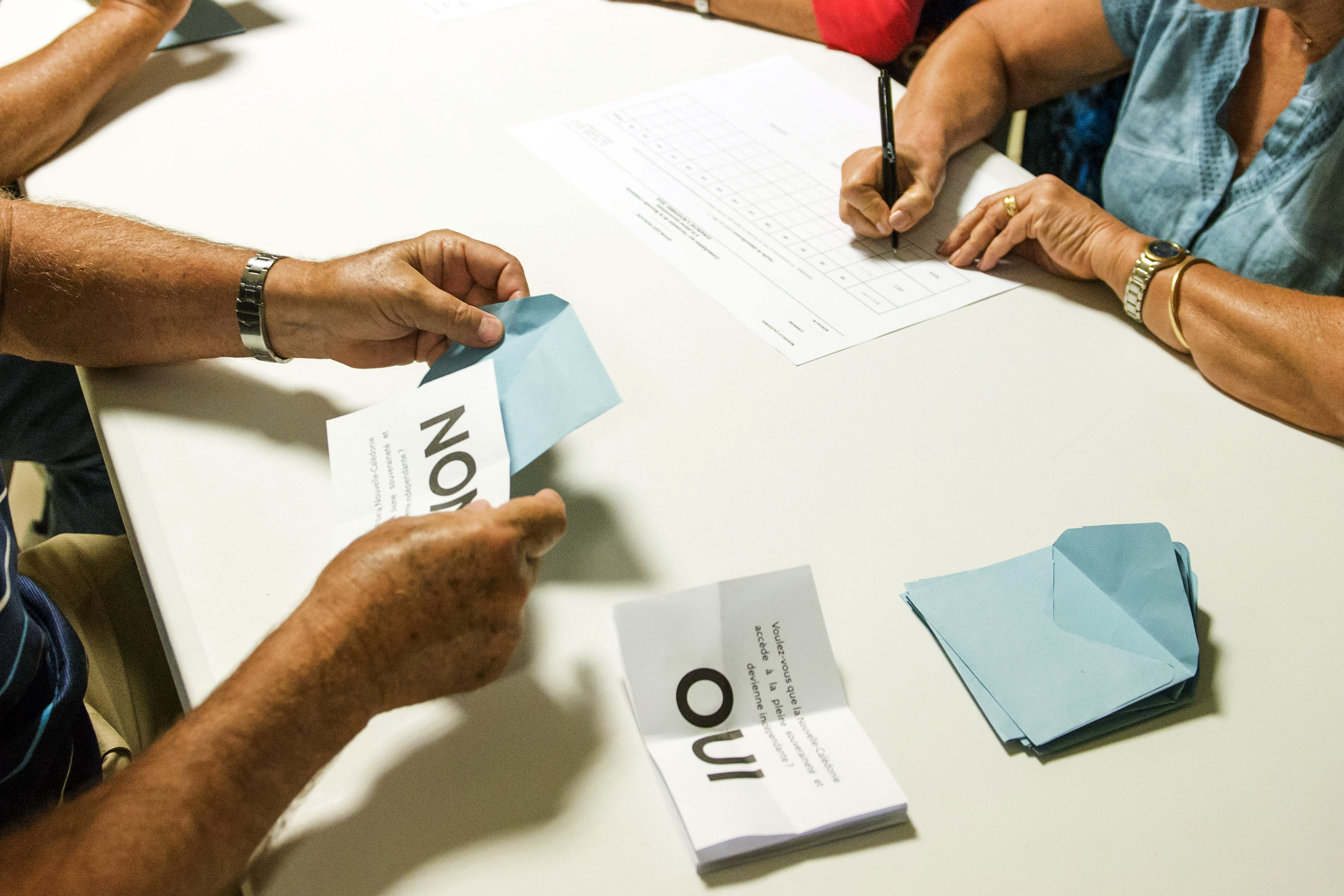 FILE - In this Nov. 4, 2018 file photo, polling station officials count the votes as part of the independence referendum in Noumea, the New Caledonia's capital. Voters in New Caledonia, a French archipelago in the South Pacific, are to choose whether they want independence from France in a referendum that marks a milestone in a three-decades-long decolonization effort. The vote on Sunday, Oct. 4, 2020 is key to determine the future of the archipelago east of Australia and its 270,000 inhabitants, including the native Kanaks, who once suffered from strict segregation policies, and the descendants of European colonizers. (AP Photo/Mathurin Derel, File)