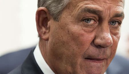 Speaker of the House John Boehner (R-OH) speaks about funding for the Department of Homeland Security during a news conference on Capitol Hill in Washington February 25, 2015. REUTERS/Joshua Roberts