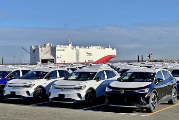 福斯殺手級電動車ID.4跨界休旅本周出廠登船銷往全球市場,預計今年將交出10萬台