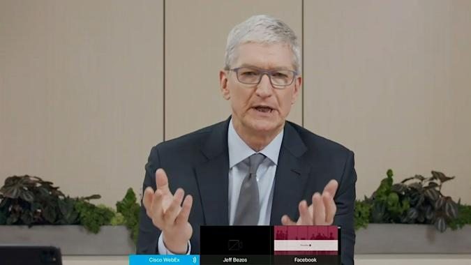 """Apple CEO Tim Cook testifies remotely via videoconference during a U.S. House Judiciary Subcommittee on Antitrust, Commercial and Administrative Law hearing on """"Online Platforms and Market Power"""" in this screengrab made from video as the committee meets on Capitol Hill, in Washington, U.S., July 29, 2020.  U.S. House Judiciary Committee via REUTERS"""