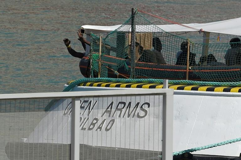 The Open Arms has been anchored since Thursday within swimming distance of Lampedusa, seeking permission to dock, with the situation increasingly tense (AFP Photo/LLUIS GENE )