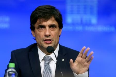 FILE PHOTO: Argentina's Economy Minister Hernan Lacunza attends a news conferenc in Buenos Aires