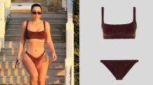 Kim Kardashian West flaunts hourglass figure in $250 shimmery bikini