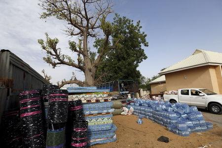 Relief material for people displaced from Niger is seen in Geidam, Nigeria