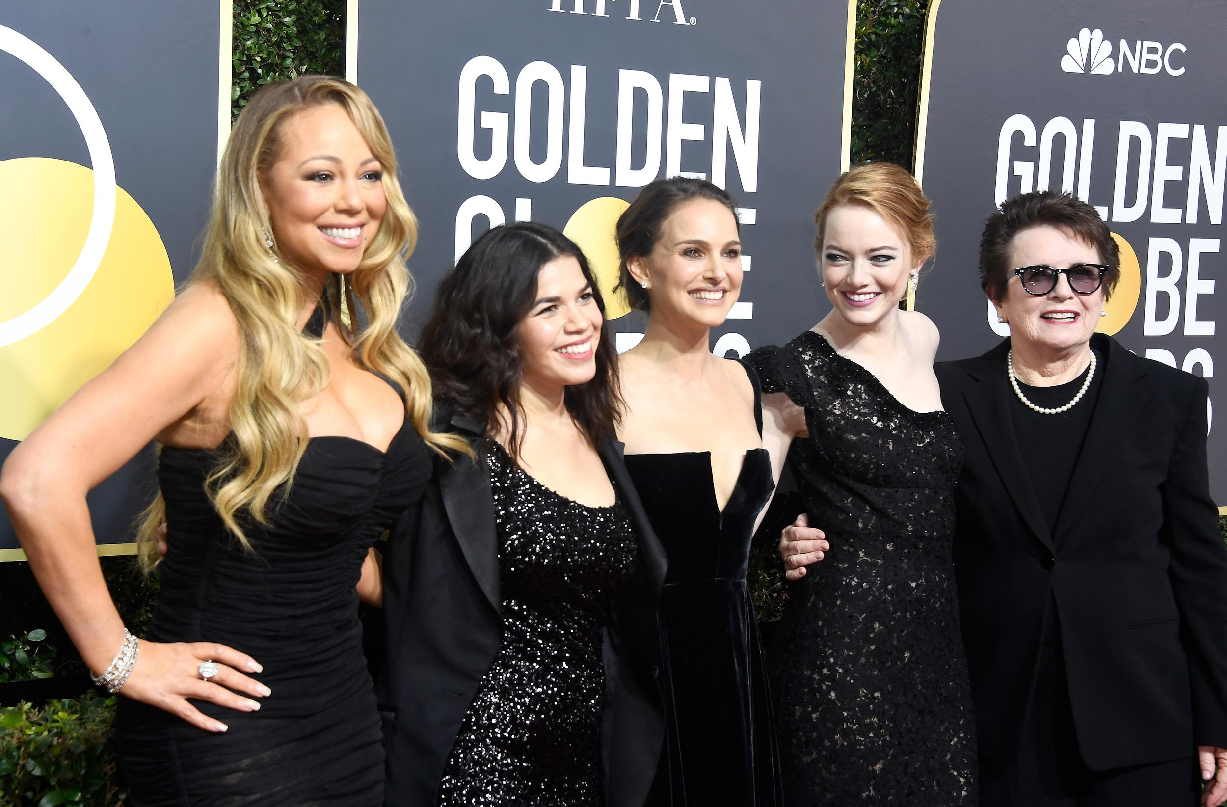 BEVERLY HILLS, CA - JANUARY 07:  (L-R) Singer Mariah Carey, actors America Ferrera, Natalie Portman and Emma Stone, and former tennis player Billie Jean King attend The 75th Annual Golden Globe Awards at The Beverly Hilton Hotel on January 7, 2018 in Beverly Hills, California.  (Photo by Frazer Harrison/Getty Images)
