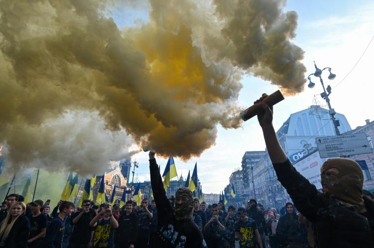 Ukrainian nationalists have staged a series of protests against President Volodymyr Zelensky's peace process with Moscow-backed separatists (AFP Photo/GENYA SAVILOV)
