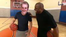 Conan meets Magic Johnson on the court as Larry Bird
