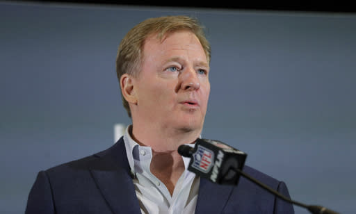 FILE - In this Feb. 3, 2020, file photo NFL Commissioner Roger Goodell speaks during a news conference in Miami. The NFL stands with the Black community, the players, clubs and fans, NFL Goodell said last week. Confronting recent systemic racism with tangible and productive steps is absolutely essential. We will not relent in our work. (AP Photo/Brynn Anderson, File)