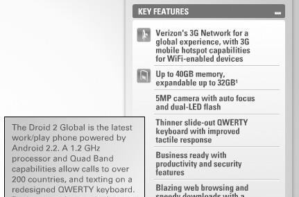 Droid 2 Global (and specs) make brief cameo on Motorola's website