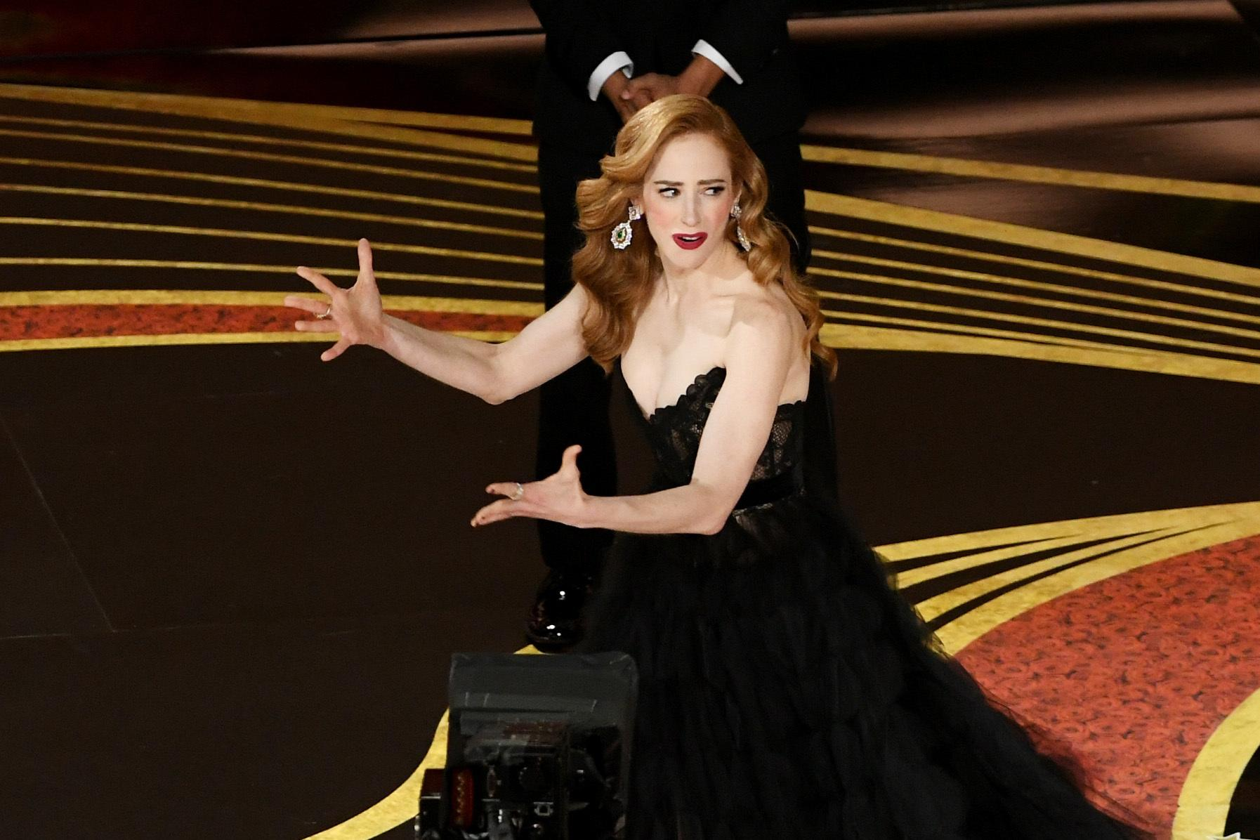 HOLLYWOOD, CALIFORNIA - FEBRUARY 24: Jaime Ray Newman accepts the Best Live Action Short Film award for 'Skin' onstage during the 91st Annual Academy Awards at Dolby Theatre on February 24, 2019 in Hollywood, California. (Photo by Kevin Winter/Getty Images)
