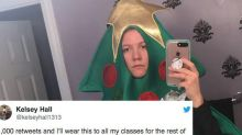Student wearing Christmas tree costume takes Twitter challenge, regrets it immediately