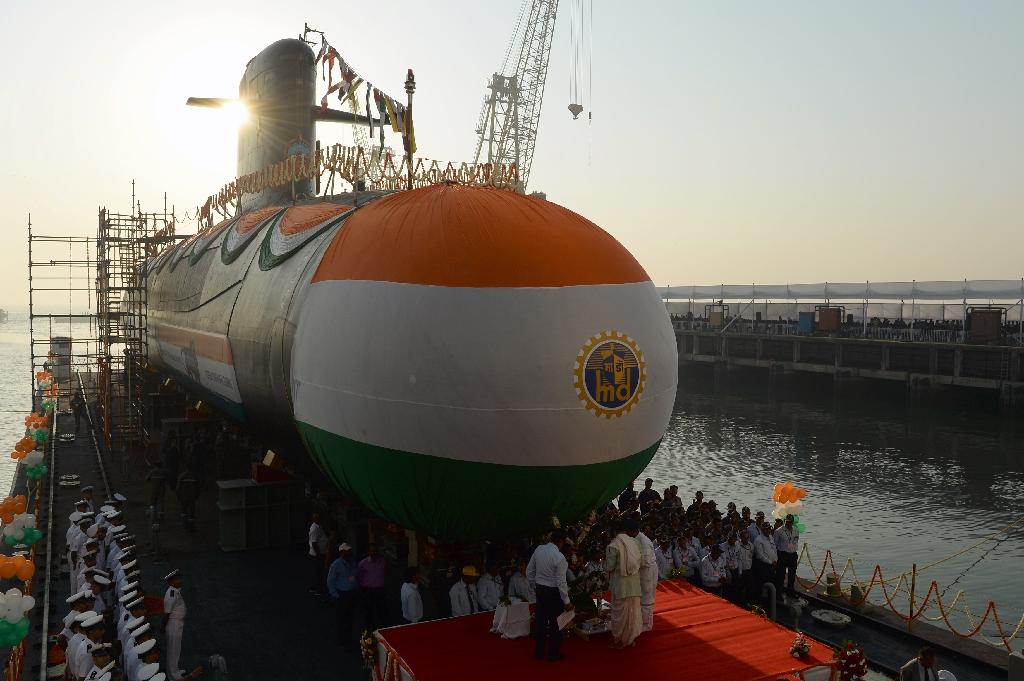 The Indian Navy's third Scorpene-class submarine 'Karanj' at a launch ceremony in Mumbai last year. Pakistan said Tuesday it had stopped an Indian sub from entering its territorial waters
