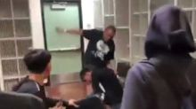 High school teacher arrested after video shows him brawling with student in class
