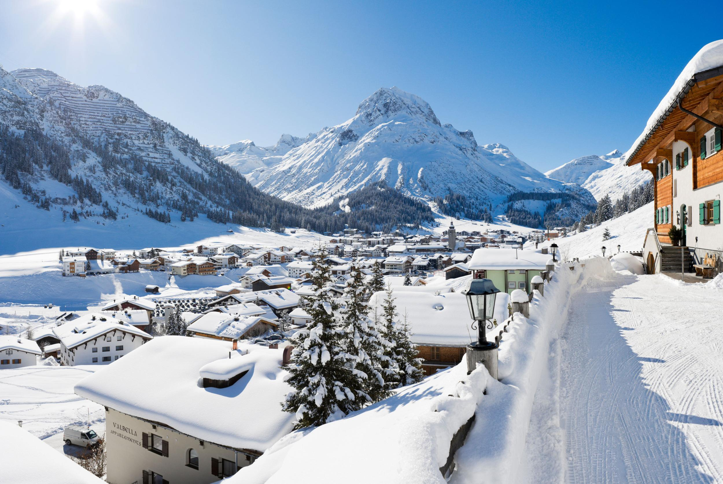 View over the centre of the resort of Lech, Arlberg ski region, Vorarlberg, Austria.