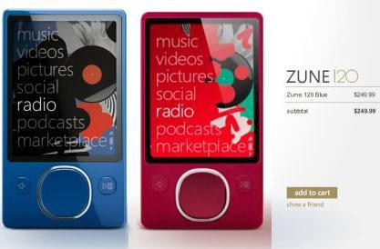 Blue & red Zune 120s available just in time for the holidays