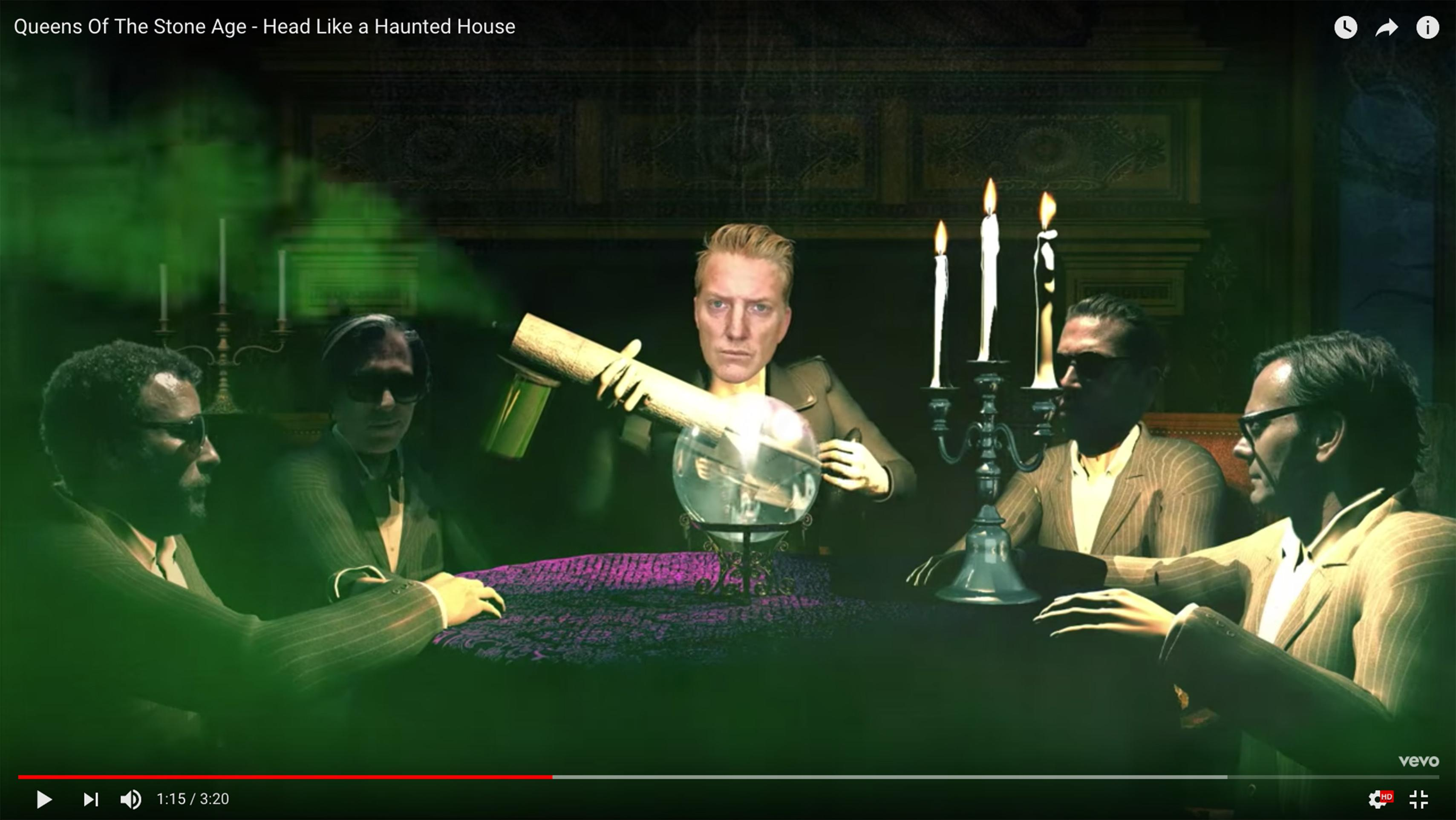 watch queens of the stone age get spooky in a haunted house. Black Bedroom Furniture Sets. Home Design Ideas