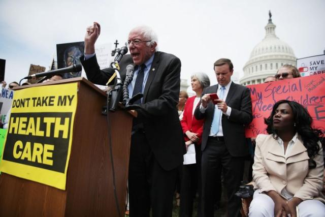 "Sen. Bernie Sanders, I-Vt., speaks during a Stop ""Trumpcare"" rally in Washington, D.C., on Thursday. (Photo: Alex Wong/Getty Images)"