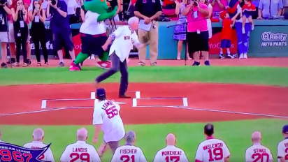 Fan's first pitch ended in painful, funny moment