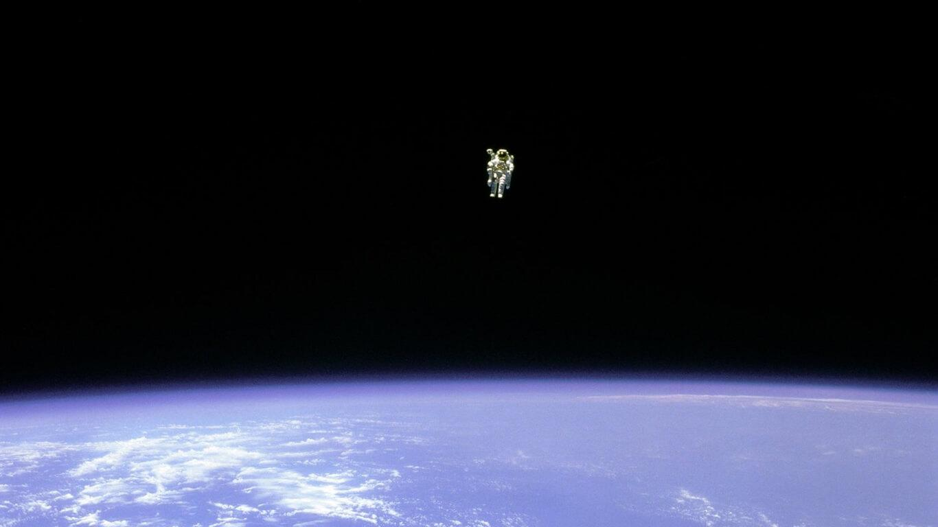 Bruce McCandless during the first untethered EVA