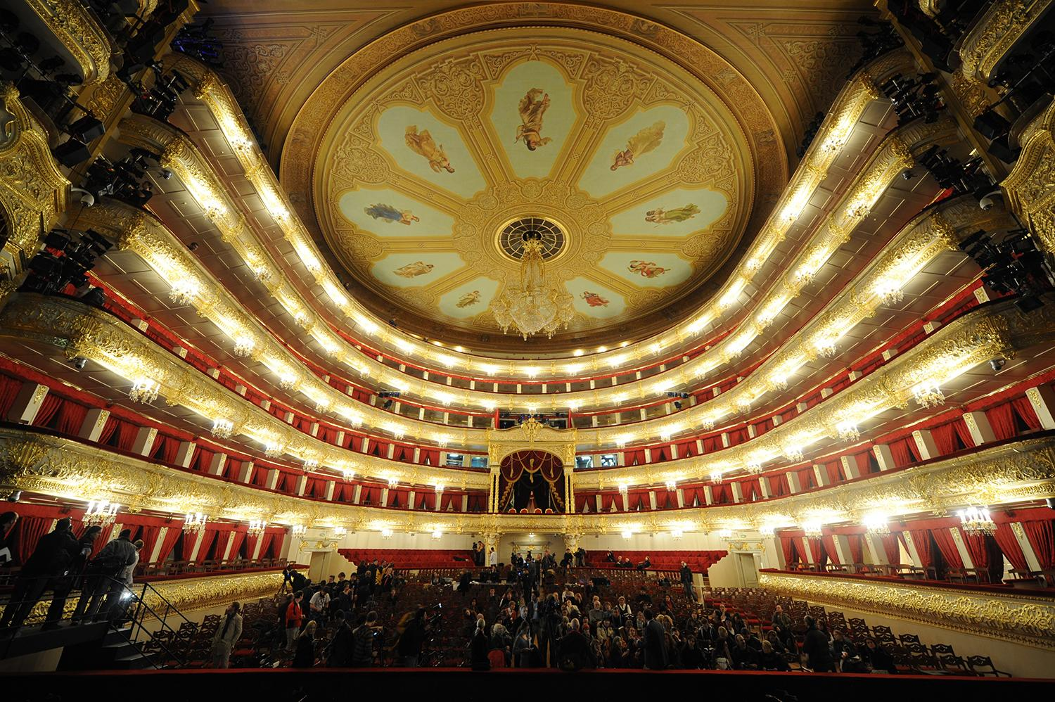<p>Journalists attend a media tour of the Bolshoi Theatre. The restored Moscow landmark, built in the 1820s, reopened on Oct. 28. 2011, after an extensive six-year renovation. (Photo: Kirill Kudryavtsev/AFP/Getty Images) </p>